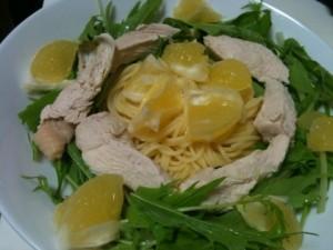 小夏が主役の水菜と鶏ささみのさっぱり冷水パスタ